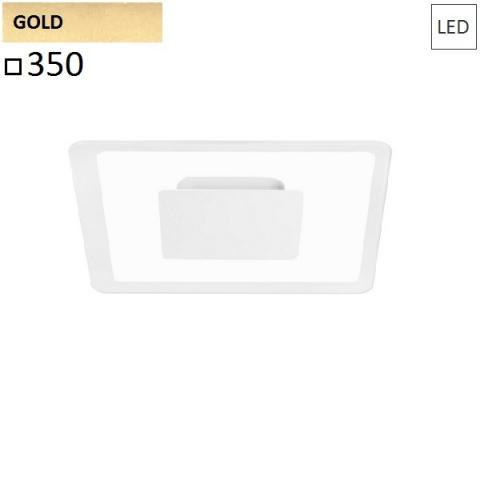 Wall/ceiling lamp 350x350 LED 19W gold
