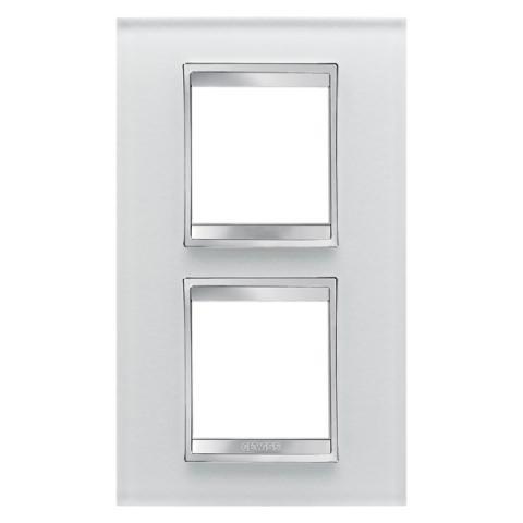 Рамка LUX International 2+2 вертикална - стъкло - Ice