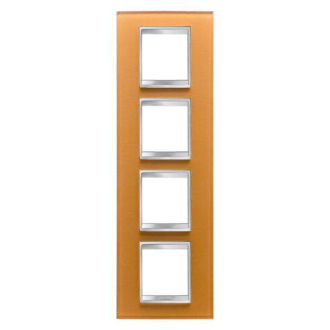 Рамка LUX International 2+2+2+2 вертикална - стъкло - Ochre