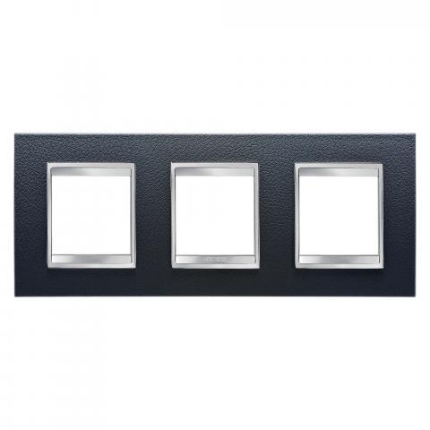 LUX International 2+2+2 gang horizontal plate - Leather - Black
