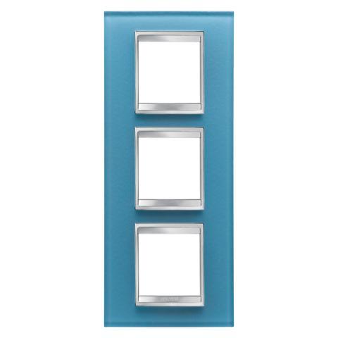 LUX International 2+2+2 gang vertical plate - Glass - Aquamarine