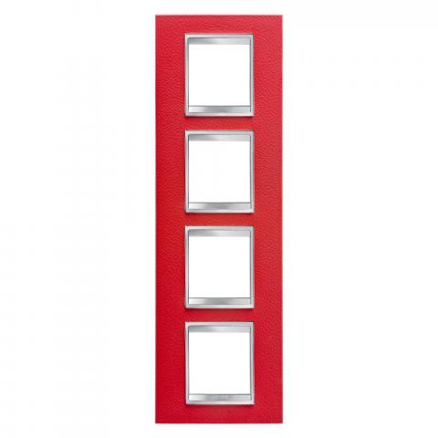 Рамка LUX International 2+2+2+2 вертикална - кожа - Ruby