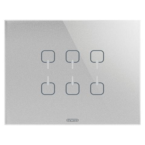 Plate ICE TOUCH KNX - 6 Symbols - Glass - Titanium