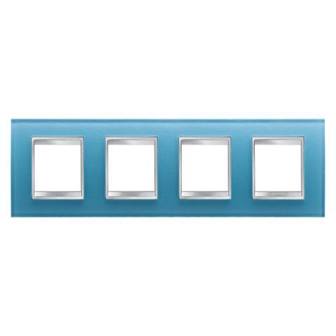 Рамка LUX International 2+2+2+2 хоризонтална - стъкло - Aquamarine