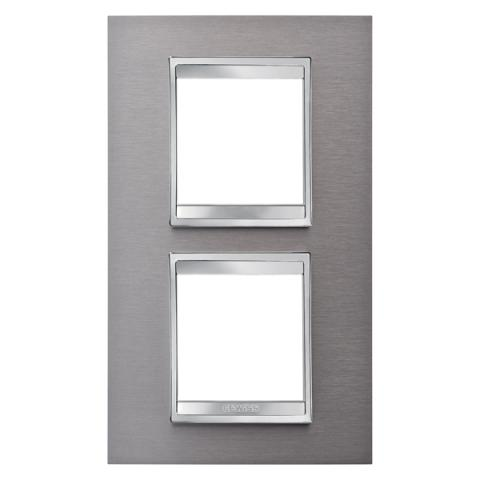 Рамка LUX International 2+2 вертикална - Brushed Stainless Steel