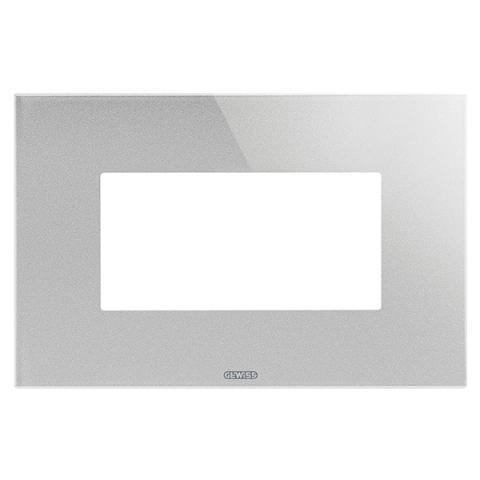 ICE plate - 4 gang - Glass - Titanium
