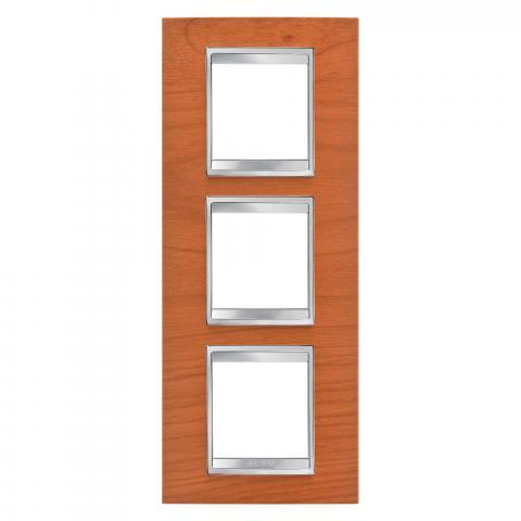 LUX International 2+2+2 gang vertical plate - wood - Cherry