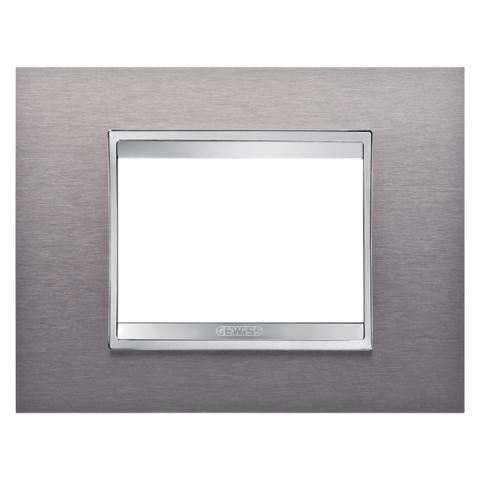 Рамка LUX 3 модула - Brushed Stainless Steel