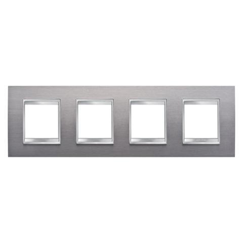 Рамка LUX International 2+2+2+2 хоризонтална - Brushed Stainless Steel
