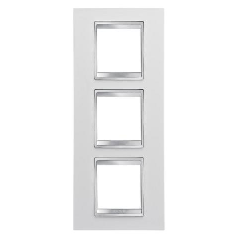 LUX International 2+2+2 gang vertical plate - Milk White