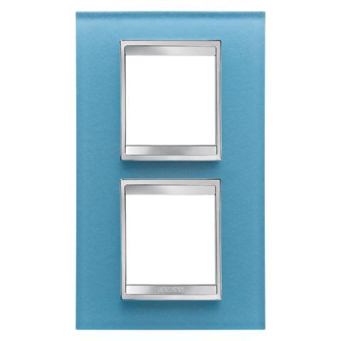 Рамка LUX International 2+2 вертикална - стъкло - Aquamarine