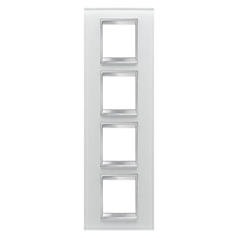 Рамка LUX International 2+2+2+2 вертикална - стъкло - Ice