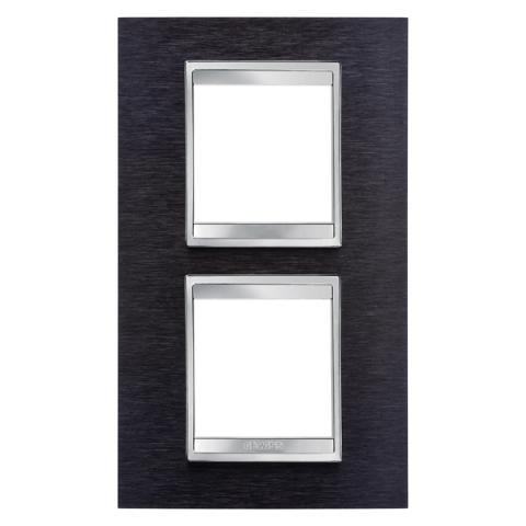 Рамка LUX International 2+2 вертикална - Black Aluminium