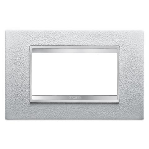 Рамка LUX 4 модула - кожа - White