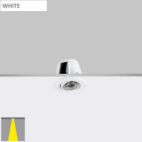 Tiltable downlight RA 4 with lens - LED 2W - white