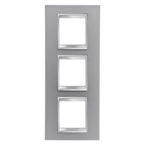 LUX International 2+2+2 gang vertical plate - Titanium