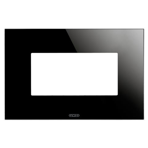 ICE plate - 4 gang - Glass - Black