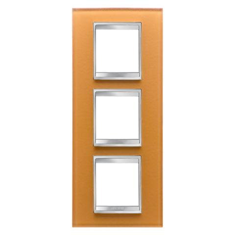 LUX International 2+2+2 gang vertical plate - Glass - Ochre