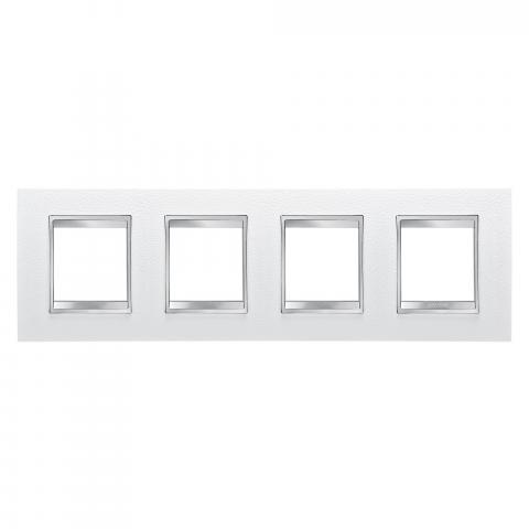 Рамка LUX International 2+2+2+2 хоризонтална - кожа - White