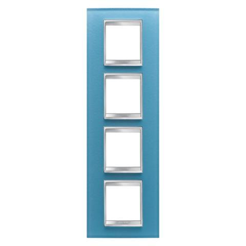 Рамка LUX International 2+2+2+2 вертикална - стъкло - Aquamarine