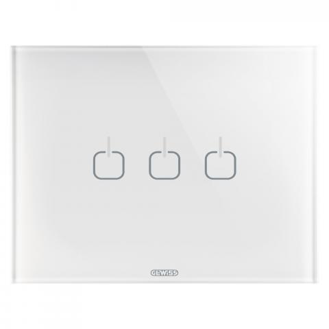 PLATE ICE TOUCH - 3 SYMBOLS  - GLASS - White