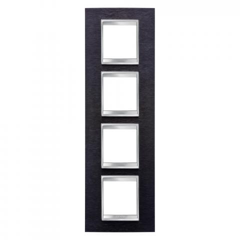 Рамка LUX International 2+2+2+2 вертикална - Black Aluminium