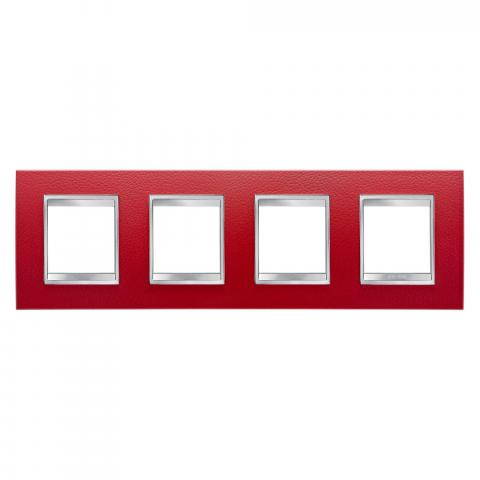 Рамка LUX International 2+2+2+2 хоризонтална - кожа - Ruby