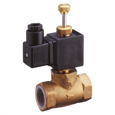 Solenoid valve with manual reset