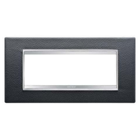 Рамка LUX 6 модула - кожа  - Black