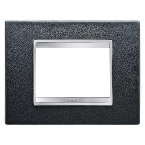 Рамка LUX 3 модула - кожа - Black