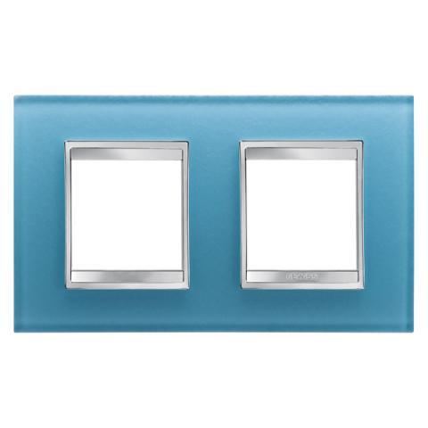 Рамка LUX International 2+2 хоризонтална - стъкло - Aquamarine