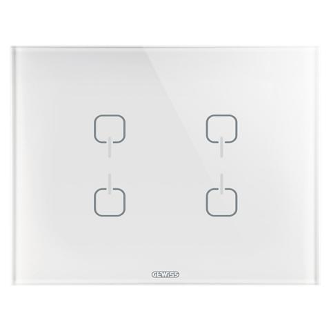 Plate ICE TOUCH KNX - 4 Symbols - Glass - White