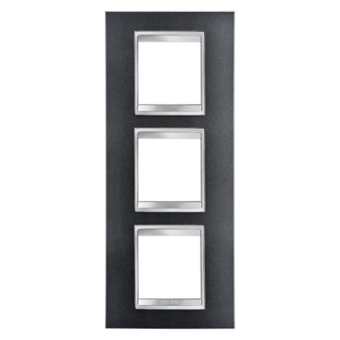 LUX International 2+2+2 gang vertical plate - Slate