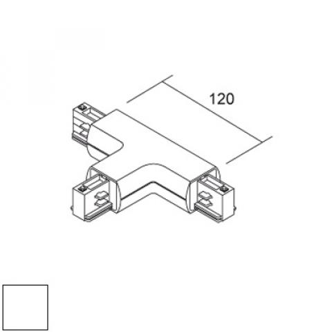 Right T joint for LKM Round track - white
