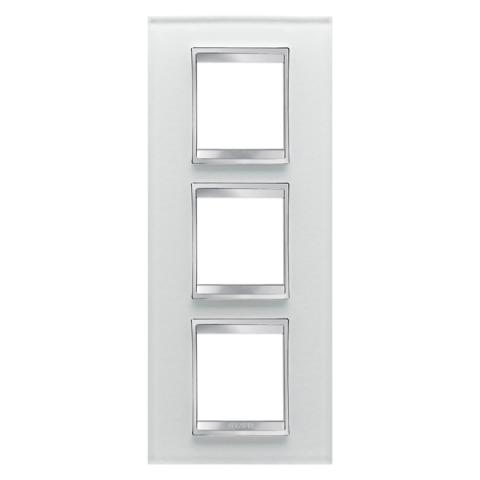 LUX International 2+2+2 gang vertical plate - Glass - Ice