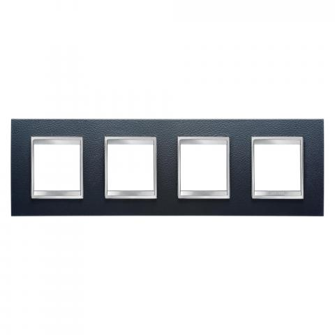 Рамка LUX International 2+2+2+2 хоризонтална - кожа - Black