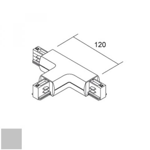 Right T joint for LKM Round track - silver