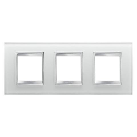 LUX International 2+2+2 gang horizontal plate - Glass - Ice