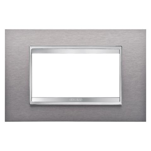 Рамка LUX 4 модула - Brushed Stainless Steel