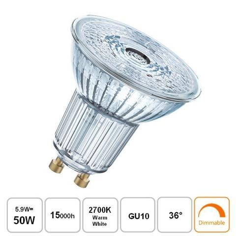 Dimmable LED Lamp 5,9W 36° 2700K GU10 DIM 15000h
