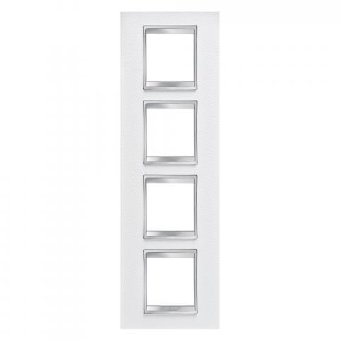 Рамка LUX International 2+2+2+2 вертикална - кожа - White