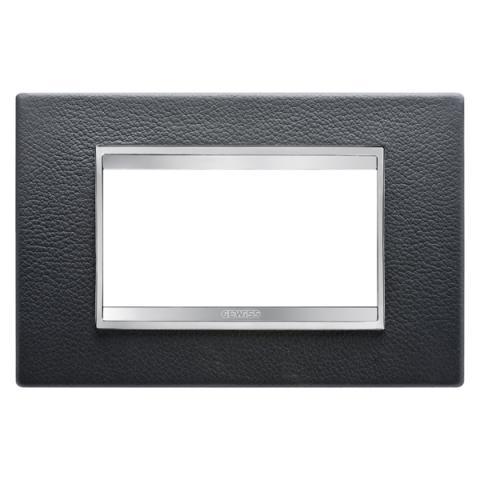 Рамка LUX 4 модула - кожа - Black