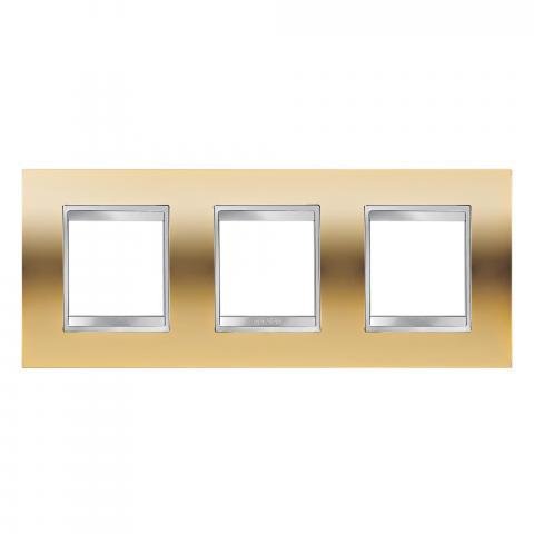 LUX International 2+2+2 gang horizontal plate - Gold