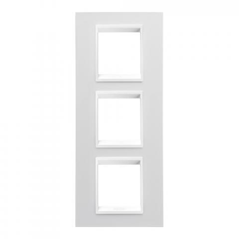 LUX International 2+2+2 gang vertical plate - Monochrome Milk White
