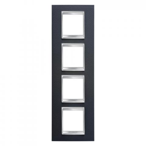 Рамка LUX International 2+2+2+2 вертикална - кожа - Black