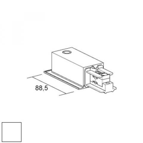 Left live end for LKM recessed track - white