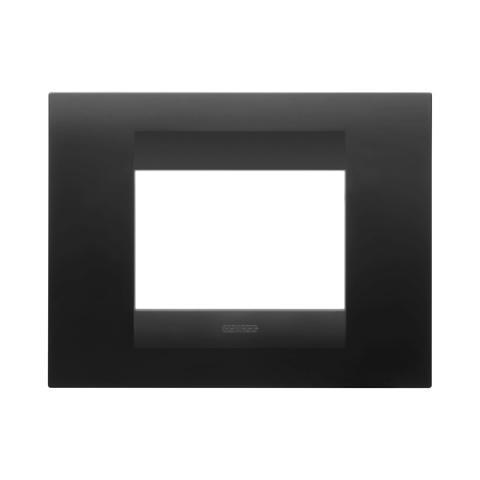 GEO plate 3 gang - Satin Black