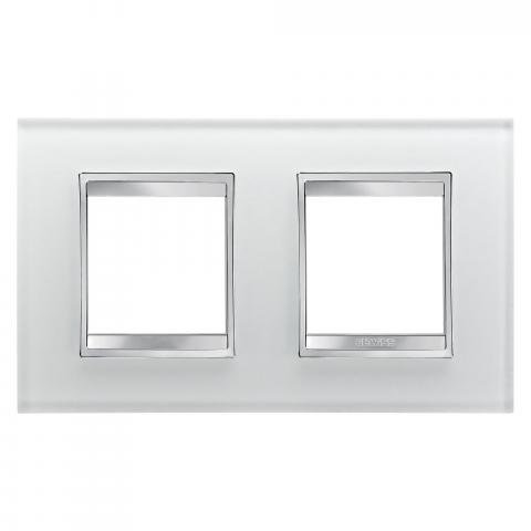 Рамка LUX International 2+2 хоризонтална - стъкло - Ice