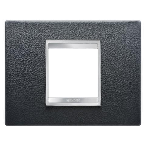 Рамка LUX 2 модула - кожа - Black