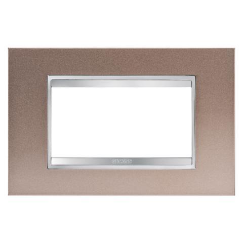 Рамка LUX 4 модула - метал - Pearly Bronze